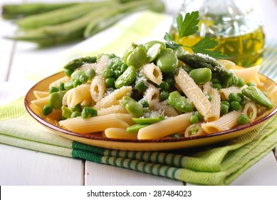 pasta with fresh broad beans, asparagus and peas
