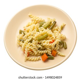 pasta with green beans with garlicand carrots on a light brown  plate isolated on a white background. Mediterranean Kitchen . pasta with vegetables top side view.