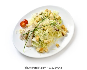 Pasta with ham and tomato salad and bread on the isolated background