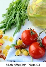 Pasta ingredient olive oil, basil, tomato Italian Still Life
