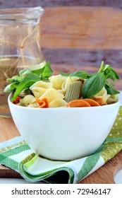 Pasta with Italian pesto sauce with basil