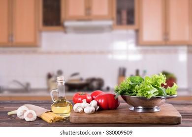 Pasta in the kitchen.