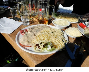 Pasta for lunch at a ski area near Avoriaz, France