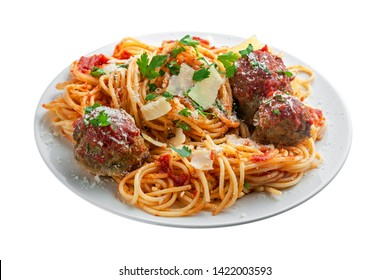 Pasta with meatballs, parmesan and tomato sauce on a white plate. Homemade Italian spaghetti isolated on white background.