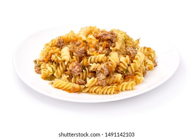 Pasta with minced meat, Fusilli Bolognese, isolated on white background.