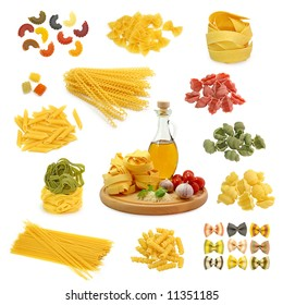 pasta mix  isolated on white background
