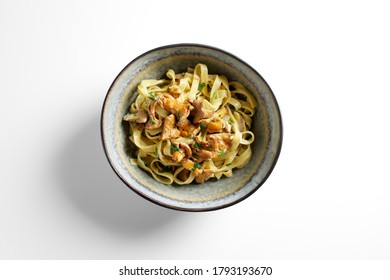 Pasta with mushrooms in a creamy sauce. Linguini with chanterelles.