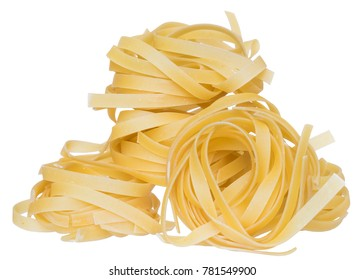 pasta nest close up on a isolated white background.