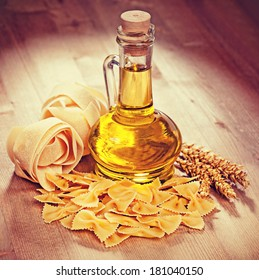 Pasta and oil in a glass. Vintage retro hipster style version