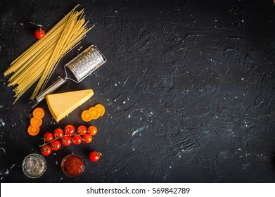 pasta on a black background