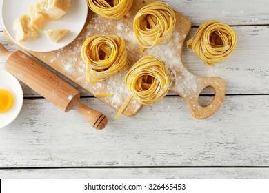pasta on cutting board, food top