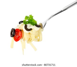 Pasta on a fork over white background