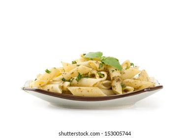 pasta on a plate  isolated on white