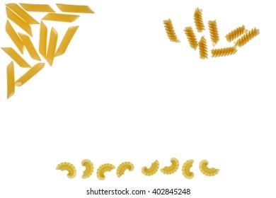 Pasta on a white background.