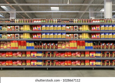 Pasta packaging on shelf