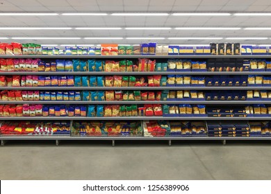 Pasta Packaging on a shelf in a supermarket. is suitable for presenting new packaging among many others.