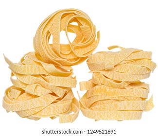 pasta pappardelle nest close up isolated white background.