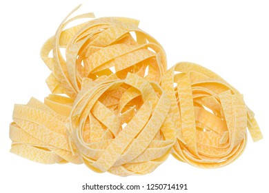 pasta pappardelle nest close up on a isolated white background.