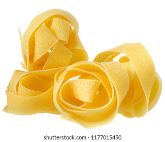 pasta pappardelle nest top view close up on a isolated white background.