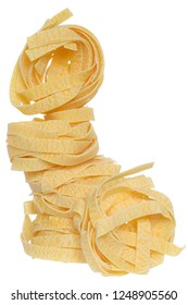 pasta pappardelle nest tower isolated white background.