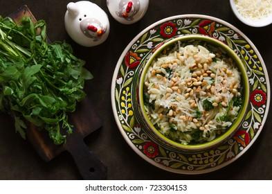 Pasta with parmesan arugula lemon and pine nuts