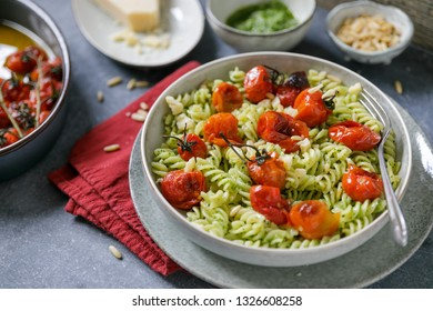 pasta with pesto genovese and grilled tomatoes