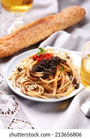 pasta with red and black lumpfish roe