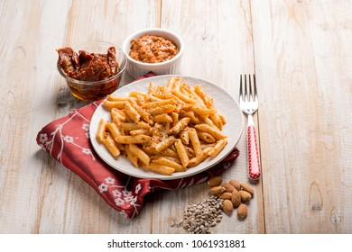 pasta with red pesto, traditional sicilian recipe