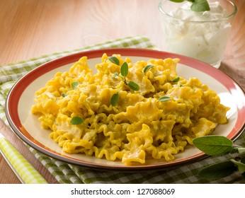 pasta with saffron yogurt ricotta and sage