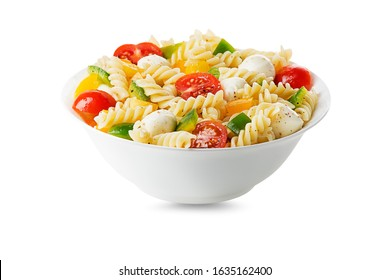 Pasta salad with mozzarella cheese and vegetables isolated on white. Healthy pasta meal.