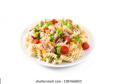 Pasta salad with vegetables isolated on white background