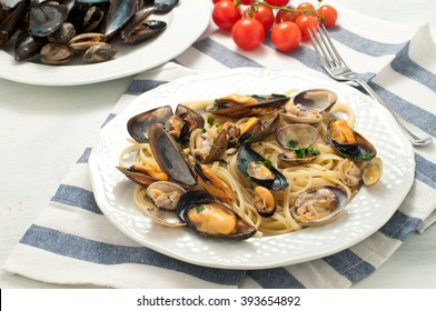 pasta with seafood with mussels and clams,italy