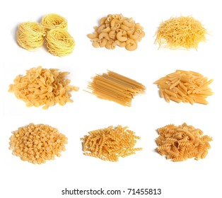 Pasta set on a white background