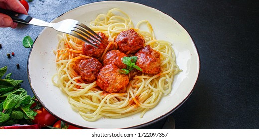 pasta spaghetti meatballs tomato sauce, main course Menu concept, food background, diet. top view. copy space for text