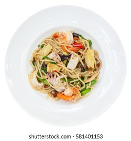 Pasta spaghetti with shrimp and squid  isolated on white backgro