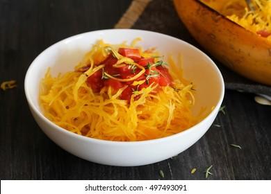 Pasta with Spaghetti squash / Spaghetti squash pasta served in a bowl, selective focus