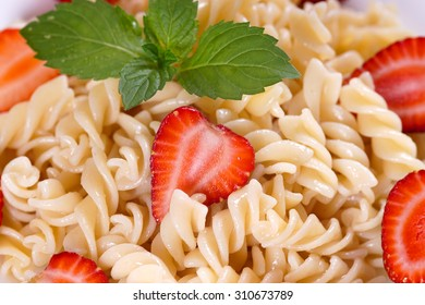 Pasta with strawberries.