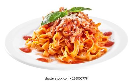 Pasta tagliatelle with tomato isolated on white background
