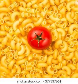 Pasta texture background with tomato