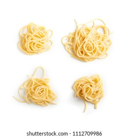 Pasta tied up by a rope isolated on a white background