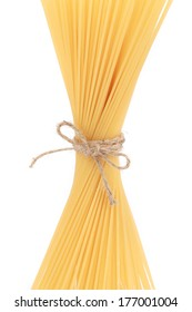 Pasta tied up by a rope. Isolated on a white background.