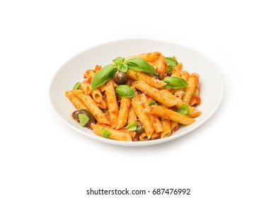 Pasta with tomato sauce, parmesan, basil and olives