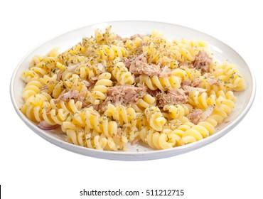Pasta with tuna isolatedo non white