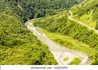 Pastaza River Valley In Ecuadorian Andes And Pan America Road High Altitude Full Size Helicopter Shot