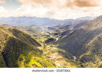 Pastaza Valley In The Andes Mountains Ecuador Aerial Shot From Full Size Helicopter