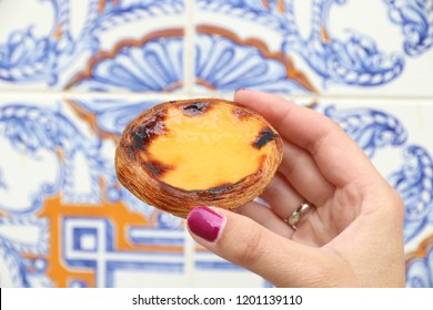 Pasteis de nata - traditional Portugese cuisine egg tart with creamy filling.