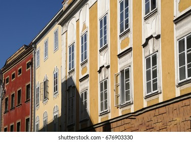 Pastel baroque buildings in old town of  Passau, Germany