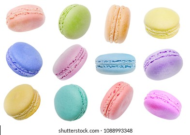 Pastel color of macaron in various position isolated on white background