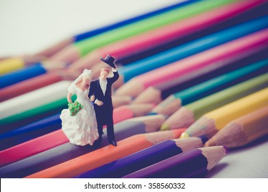 Pastel color, newlyweds