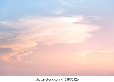 Pastel color pink and blue sky at sunset